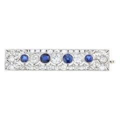 Art Deco Platinum Diamond and Blue Sapphire Brooch, C. 1920