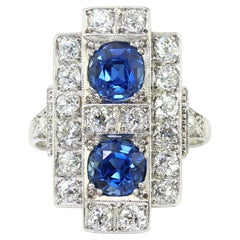 Art Deco Platinum Diamond and Blue Sapphire Ladies Ring, 1920's