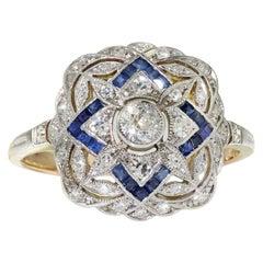 Art Deco Platinum Diamond and Blue Sapphire Ladies Ring