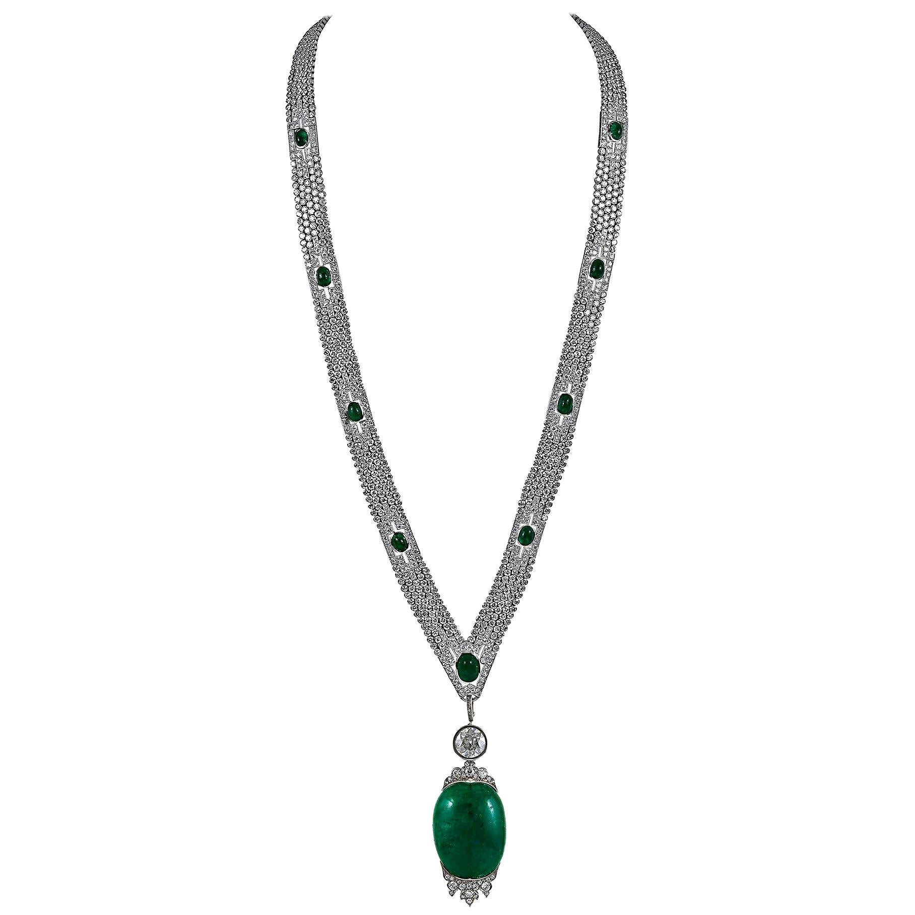 Art Deco Diamond Cabochon Emerald Platinum Sautoir Necklace