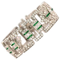 Art Deco Platin, Diamant und Smaragd Armband