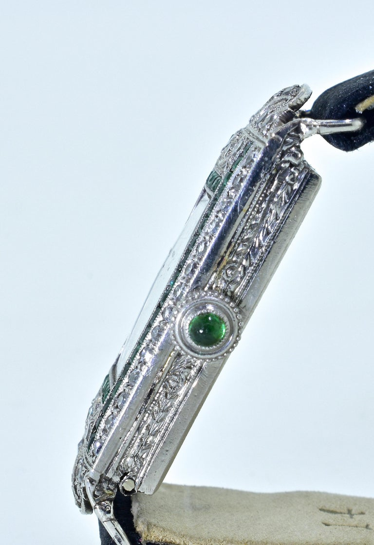 Art Deco Platinum, Diamond and Emerald Wristwatch, circa 1920 In Good Condition For Sale In Aspen, CO