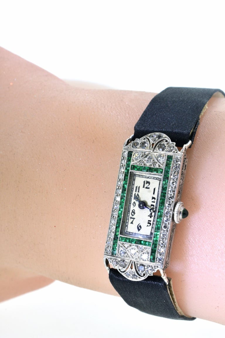 Art Deco Platinum, Diamond and Emerald Wristwatch, circa 1920 For Sale 1