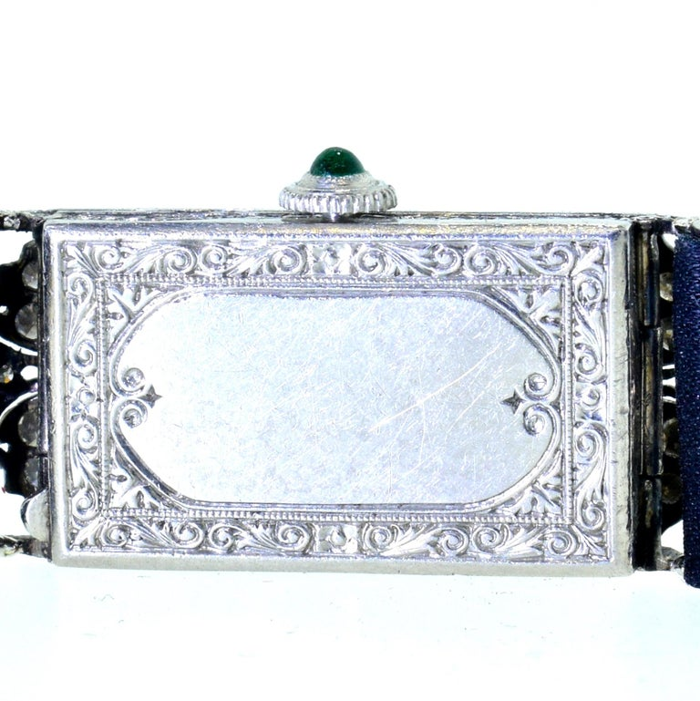 Art Deco Platinum, Diamond and Emerald Wristwatch, circa 1920 For Sale 2