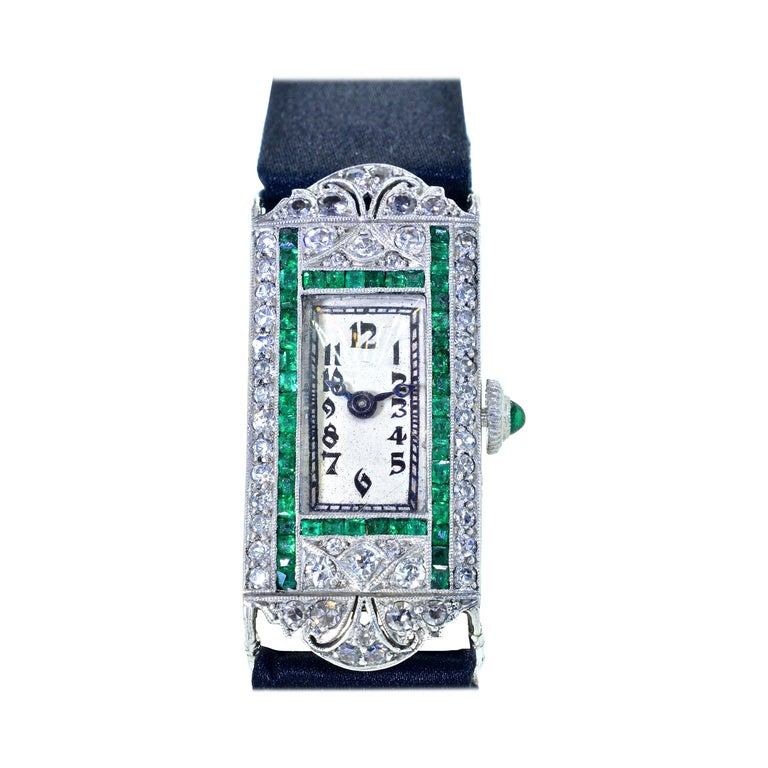 Art Deco Platinum, Diamond and Emerald Wristwatch, circa 1920 For Sale