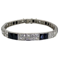 Art Deco Platinum Diamond and Onyx Engraved Line Bracelet