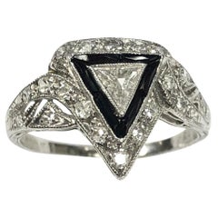 Art Deco Platinum Diamond and Onyx Ring