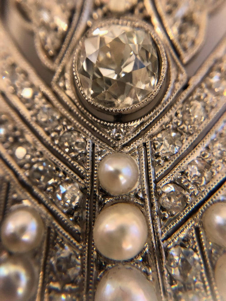 Women's Art Deco Platinum, Diamond and Pearl Brooch For Sale