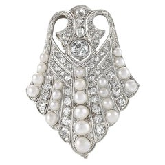 Art Deco Platinum, Diamond and Pearl Brooch
