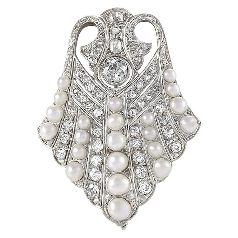 Art Deco Platinum, Diamond and Pearl Brooch For Sale