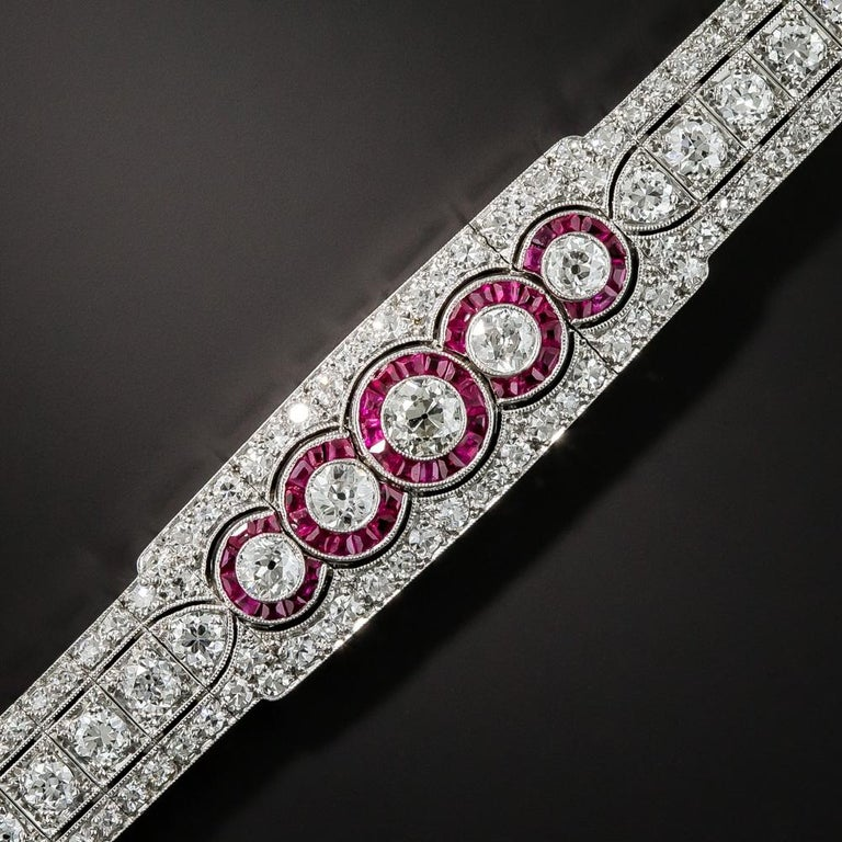 Old European Cut Art Deco Platinum Diamond and Ruby Bracelet For Sale