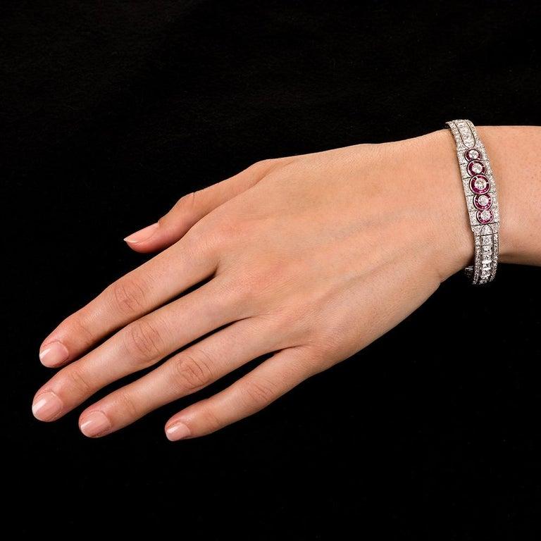 Women's Art Deco Platinum Diamond and Ruby Bracelet For Sale