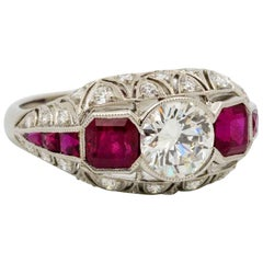 Art Deco Style Platinum Diamond and Ruby Engagement Ring