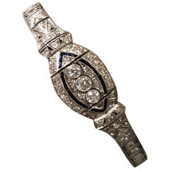 Art Deco Platinum Diamond and Sapphire Bracelet 3.5 Carat Total Weight