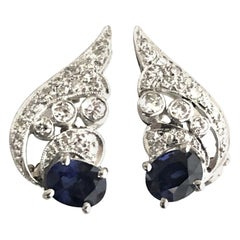 Art Deco Platinum Diamond and Sapphire Earrings