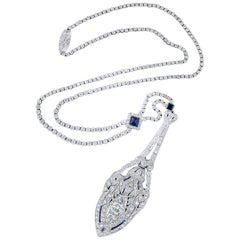 Art Deco Platinum, Diamond and Sapphire Lavaliere Necklace