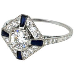 Art Deco Platinum Diamond and Sapphire Ring, 1920s