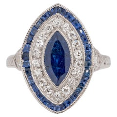 Art Deco Platinum Diamond and Sapphire Vintage Navette Style Cocktail Ring