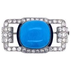 Art Deco Platinum Diamond and Turquoise Brooch