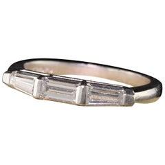 Art Deco Platinum Diamond Baguette Three-Stone Band