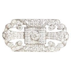 Art Deco Platinum Diamond Brooch 11 Carat, 1925