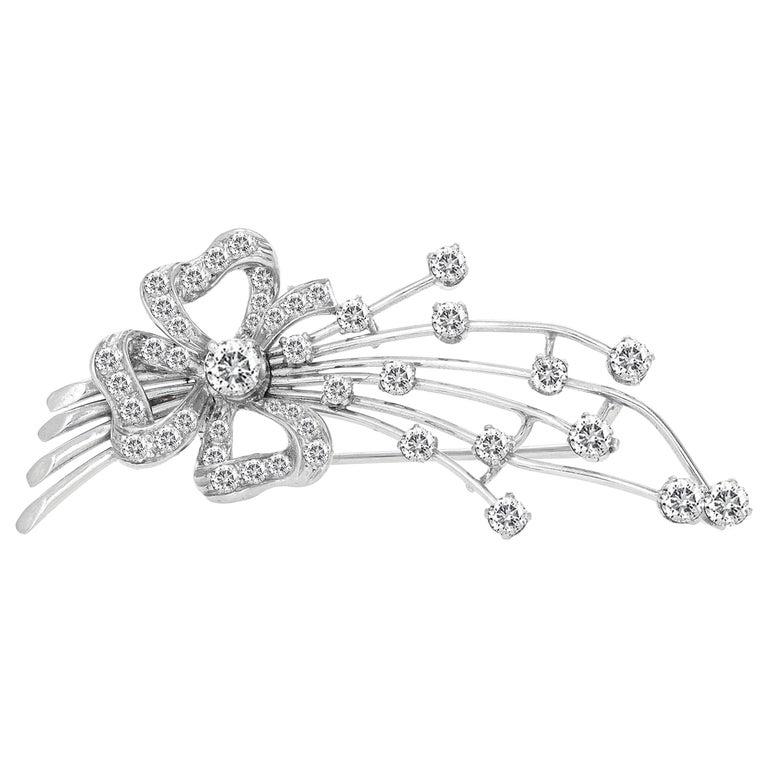 Art Deco Platinum Diamond Brooch For Sale