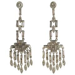 Art Deco Platinum Diamond Chandelier Earrings, circa 1930