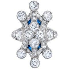 Platinum Art Deco Diamond Sapphire Cocktail Ring