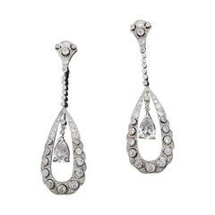 Art Deco Platinum Diamond Dangling Earrings 3.75 Carats