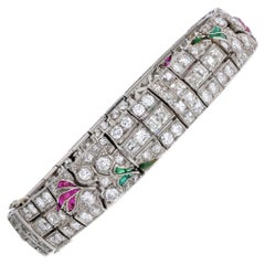 Art Deco Platinum Diamond, Emerald and Ruby, with Onyx Accents Bracelet