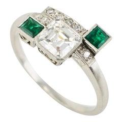 Art Deco Platinum Diamond Emerald Ring, 1930s
