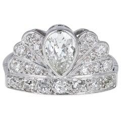 Art Deco Platinum Diamond Fan Shaped Cluster Ring
