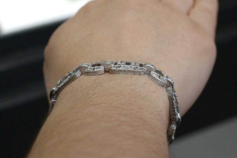 Old Mine Cut Art Deco Platinum Diamond Filigree Bracelet 1920s Edwardian Antique Wide Links For Sale