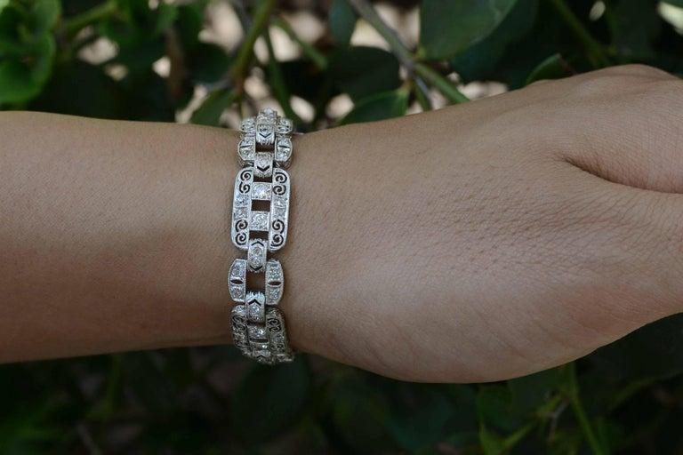 Art Deco Platinum Diamond Filigree Bracelet 1920s Edwardian Antique Wide Links In Good Condition For Sale In Santa Barbara, CA