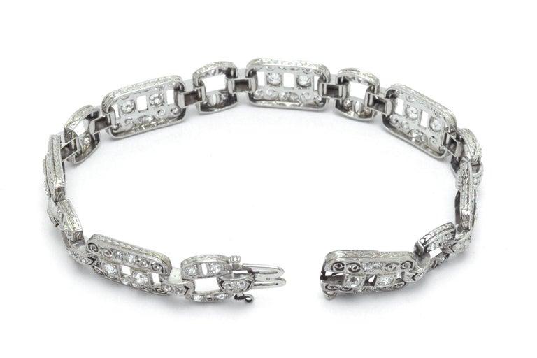 Women's Art Deco Platinum Diamond Filigree Bracelet 1920s Edwardian Antique Wide Links For Sale