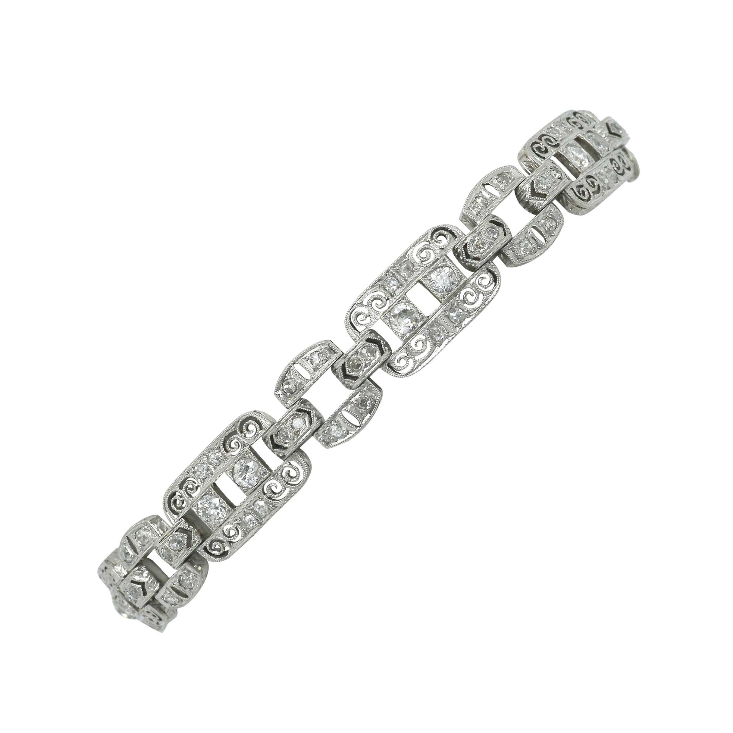 Art Deco Platinum Diamond Filigree Bracelet 1920s Edwardian Antique Wide Links