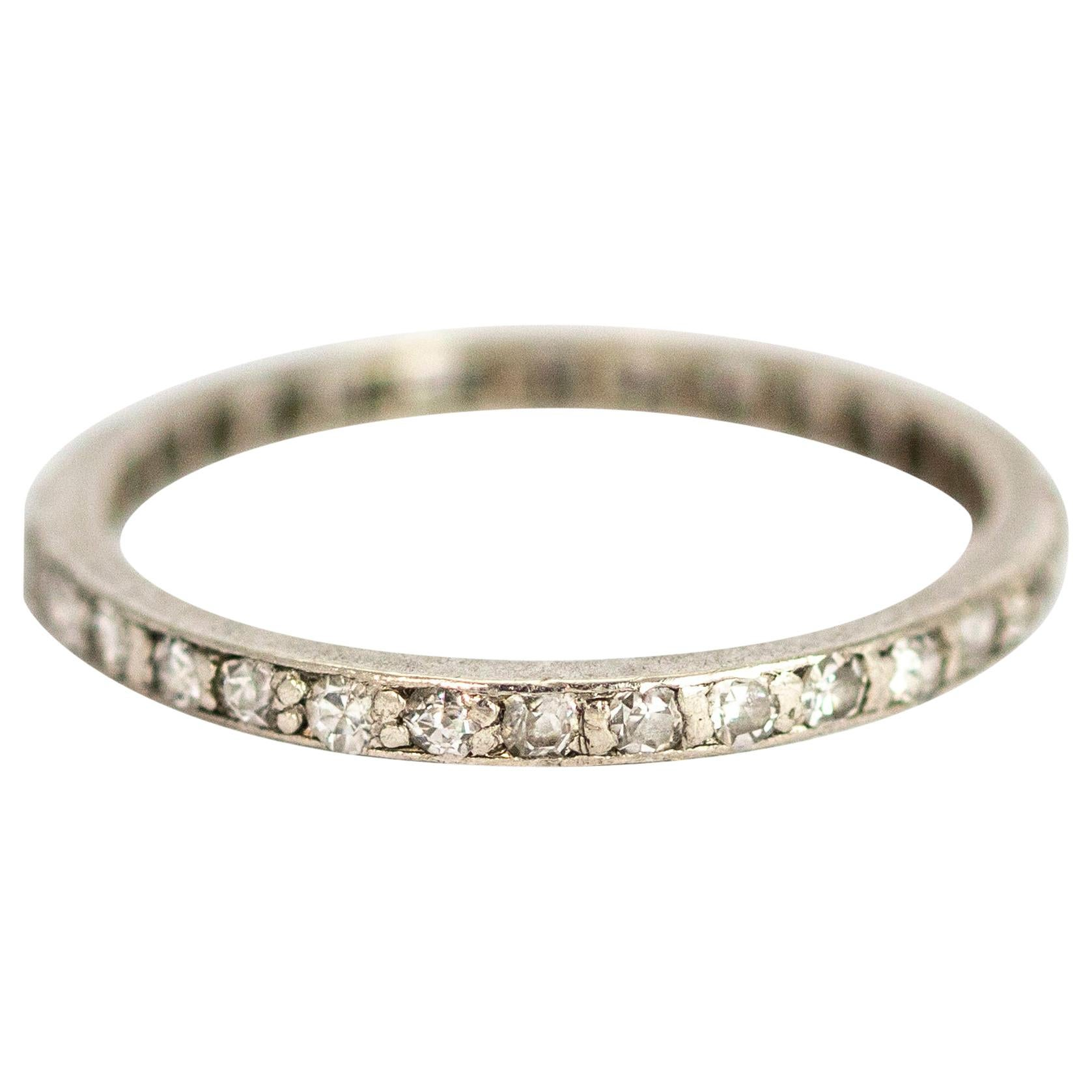 Art Deco Platinum Diamond Full Eternity Band