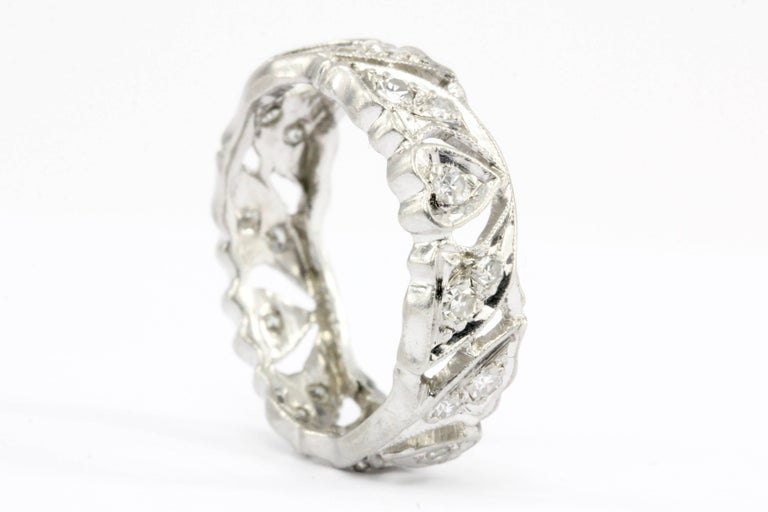 Era: Art Deco   Composition: Platinum    Primary Stone: Diamond  Carat Weight: .35 CTW  Color: H/I  Clarity: Vs1/2  Band Width: 6.1mm  Band Size: 6  Ring Weight: 5.4 grams  Condition: Excellent estate condition, ready to wear.