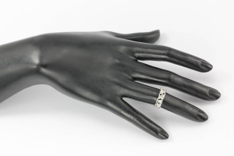 Women's Art Deco Platinum Diamond Heart Motif Eternity Band For Sale