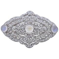 Art Deco Platinum Diamond Moonstone Brooch Pendant