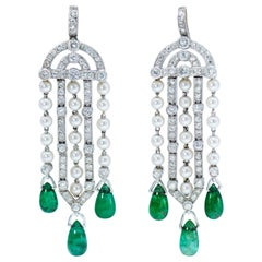 Art Deco Platinum Diamond, Natural Pearl and Emerald Earrings