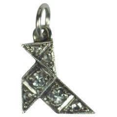 Art Deco Platinum Diamond Origami Bird Charm