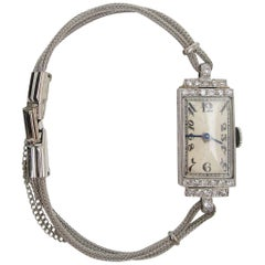 Art Deco Platinum Diamond Quartz Ladies Watch