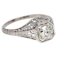 Art Deco Platinum Diamond Ring with Filigree