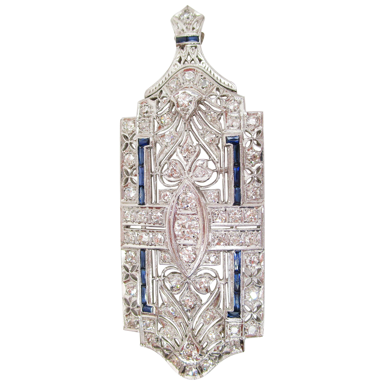 Art Deco Platinum Diamond Sapphire Convertible Pin Pendant