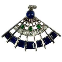 Art Deco Platinum Diamond Sapphire Emerald Fan Charm Pendant