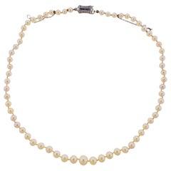 Art Deco Platinum Diamond Sapphire Pearl Necklace