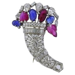 Art Deco Platinum Diamond Sapphire Ruby Tutti Frutti Brooch Pin