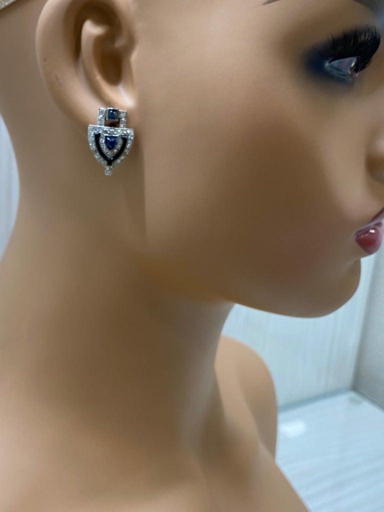 Mixed Cut Original Art Deco Platinum Diamond Sapphire Shield Earrings For Sale