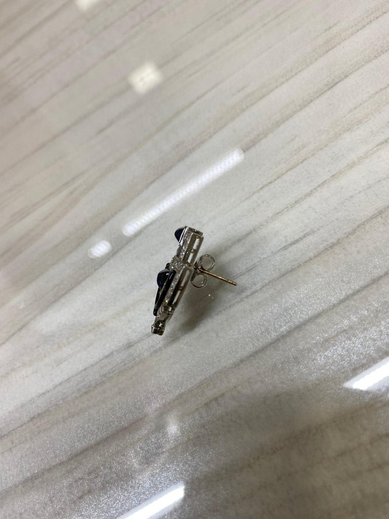 Original Art Deco Platinum Diamond Sapphire Shield Earrings In Excellent Condition For Sale In New York, NY
